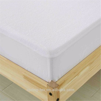 White Cotton Polyester Blended Waterproof Mattress Protector-Full Size